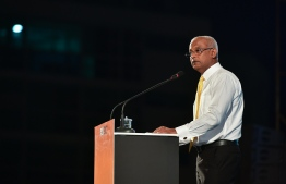 President Ibrahim Mohamed Solih speaking at Friday's campaign rally. PHOTO: NISHAN ALI/MIHAARU