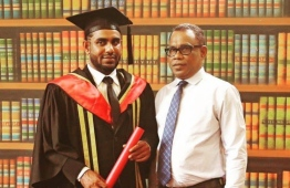 Faisal Ibrahim and his father, PNC President Abdul Raheem Abdulla.