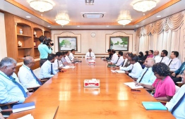 President Ibrahim Mohamed Solih meets relevant stakeholders to discuss further strengthening safeguards against COVID-19. PHOTO/PRESIDENT'S OFFICE