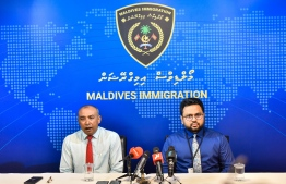 Immigration Controller General Mohamed Ahmed Hussain and his deputy providing information concerning the 'Atolhu Module' portal. PHOTO: AHMED AWSHAN/ MIHAARU