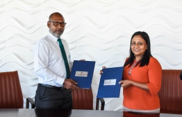 An agreement was signed between Ministry of Fisheries, Marine Resources and Agriculture and Maldives Customs Service to curb illegal fishing. PHOTO: MINISTRY OF FISHERIES, MARINE RESOURCES AND AGRICULTURE