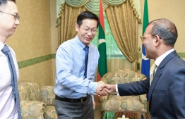 Speaker of Parliament Mohamed Nasheed meets Chinese Ambassador to Maldives, Zhang Lizhong. PHOTO: PARLIAMENT