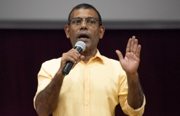 President Mohamed Nasheed addresses a gathering for the endorsement of MDP's candidate to run for the Mayor of Male in the country's now-postponed Council Elections. PHOTO: MIHAARU