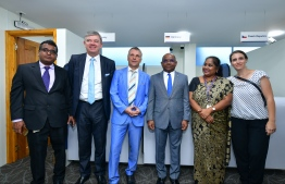Foreign Minister Abdulla Shahid (R-3), German Ambassador Joern Rohde (L-3), Czech Ambassador Milan Hovorka (L-2) and Jaya Amit Mitra (R-2), the General Manager at South India & Srilanka at VFS Global Services, pictured inside the VFS Schengen Visa Application Centre which was unveiled on March 2, 2020. PHOTO: NISHAN ALI / MIHAARU