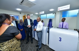 Foreign Minister Abdulla Shahid tours the newly opened VFS Centre on March 2, 2020. PHOTO: NISHAN ALI / MIHAARU