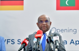Foreign Minister Abdulla Shahid speaks at the opening of the VFS Schengen Visa Application Centre on March 2, 2020. PHOTO: NISHAN ALI / MIHAARU