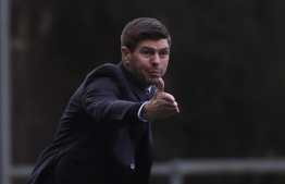 Rangers' English manager Steven Gerrard gestures during the UEFA Europa League round of 32 second leg football match between SC Braga and Rangers at the Municipal stadium in Braga on February 26, 2020. (Photo by MIGUEL RIOPA / AFP)