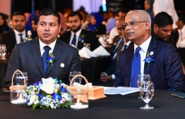President Ibrahim Mohamed Solih (R) and State Electric Company Limited (STELCO) Managing Director Hassan Mughunee, during the ceremony to mark the 70th anniversary of the state utilities company. PHOTO: AHMED AWSHAN ILYAS / MIHAARU