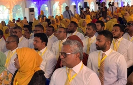 Partici[ants of a women's rally held by MDP in March. PHOTO: MDP