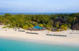 Aerial photograph of Kuredu Island Resort. PHOTO: KUREDU ISLAND RESORT