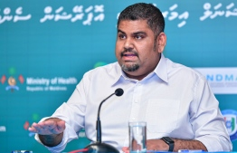 President's Office's Communications Undersecretary Mabrouq Abdul Azeez, briefing the press over COVID-19. PHOTO: AHMED AWSHAN ILYAS / MIHAARU