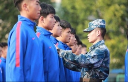 Shanghai Shenhua was among the Chinese clubs that put their football teams through military drills. PHOTO: AFP