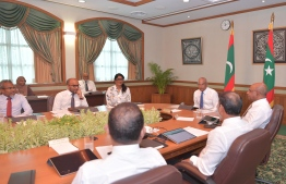 President Ibrahim Mohamed Solih meets the Cabinet ministers to discuss the situation of the COVID-19 outbreak in Maldives, on March 10, 2020. PHOTO/PRESIDENT'S OFFICE