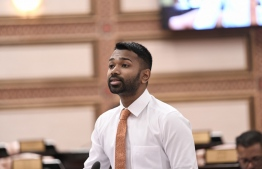 Parliament Representative of Galolhu South Constituency of capital Male' MP Meekail Ahmed Naseem speaking at a Parliament session. PHOTO: PARLIAMENT