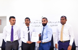 A photograph taken during the ceremony to award the contract to RDC. PHOTO: AHMED AWSHAN ILYAS/ MIHAARU