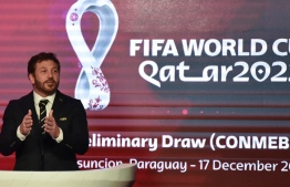 The president of the South American Football Confederation (CONMEBOL), Paraguayan Alejandro Dominguez, delivers a speech during the CONMEBOL's preliminary draw for Qatar 2022 FIFA World Cup in Luque, Paraguay, on December 17, 2019. PHOTO: AFP