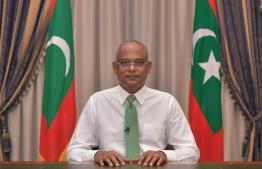 President Ibrahim Mohamed Solih addressed the public over COVID-19. PHOT: PRESIDENT'S OFFICE