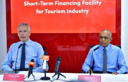 BML's CEO and MD Tim Sawyer (L) and MATI's Secretary General Ahmed Nazeer announces short-term financing facility to support the tourism sector, to mitigate the risks posed by the COVID-19 outbreak. PHOTO: AHMED AWSHAN ILYAS / MIHAARU
