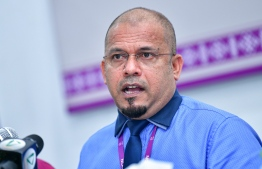 EC President Ahmed Shareef speaking at a press conference. PHOTO: AHMED AWSHAN ILYAS