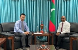 Ambassador from China to Maldives Zhang Lizhong during a previous meeting with Foreign Minister Abdulla Shahid. PHOTO: MIHAARU