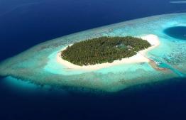 Aerial view of aaaVeee Nature's Paradise resort in Dhaalu Atoll. PHOTO/AAAVEEE