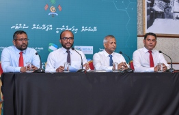 Photograph taken at the press conference held on Thursday. PHOTO: AHMED AWSHAN ILYAS/ MIHAARU