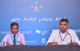 PO Communications Undersecretary Mabrouq Abdul Azeez and Dr Mohamed Ismail during a press conference regarding the COVID-19 situation in Maldives on March 23, 2020. PHOTO: AHMED AWSHAN ILYAS / MIHAARU