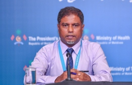 IGMH's Dr Mohamed Ismail speaks at the National Emergency Operation Centre press conference regarding the COVID-19 situation in Maldives on March 23, 2020. PHOTO: AHMED AWSHAN ILYAS / MIHAARU