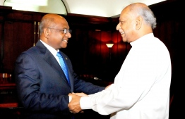 Minister of Foreign Affairs Abdulla Shahid (L) and Sri Lanka Foreign Minister Dinesh Gunawardena. PHOTO: MINISTRY OF FOREIGN AFFAIRS