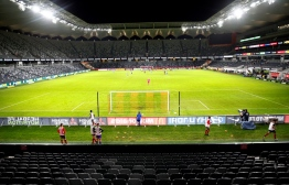 An empty Bankwest Stadium, shuttered from fans due to the COVID-19 coronavirus outbreak, is pictured during the round 24 A-League football match between Sydney FC and the Western Sydney Wanderers at Bankwest Stadium in Sydney on March 21, 2020. (Photo by Steve Christo / AFP) /