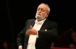Krzysztof Penderecki conducts the Sinfonia Varsovia Orchestra. PHOTO:  BRUNO FIDRYCH / POLISH INSTITUTE
