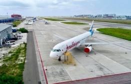 A Maldivian flight at Velana International Airport in Hulhule'. PHOTO: MIHAARU