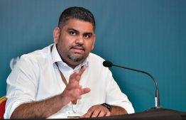 President's Office's Undersecretary Mabrouq Abdul Azeez speaking at at a press briefing. PHOTO: MIHAARU