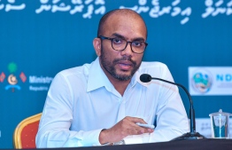 Finance Minister Ibrahim Ameer speaks at an NEOC press conference regarding the COVID-19 situation in Maldives. FILE PHOTO/MIHAARU