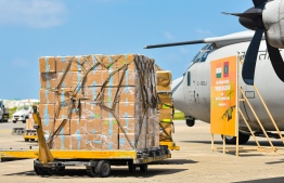 A medicine shipment facilitated by the India government to assist in Maldives' COVID-19 response. PHOTO: MIHAARU