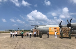 Medicine shipments airlifted to Maldives by the Indian Air Force (IAF). PHOTO: MINISTRY OF FOREIGN AFFAIRS