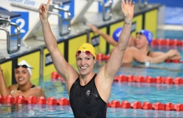 Emily Seebohm celebrates her 50m backstroke gold at the Gold Coast Commonwealth Games 2018. Picture: AAP