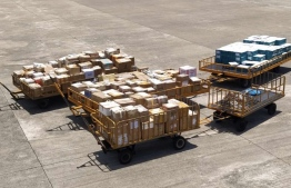 Maldives recorded 8.9 tonnes of 'care-packages' to Maldivian families in Sri Lanka. PHOTO: MALDIVIAN