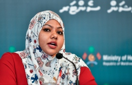 MRC Secretary General Fathimath Himya speaking to the press. PHOTO: NISHAN ALI/MIHAARU
