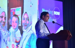 WHO Representative to Maldives Dr Arvind Mathur speaks at the launch of Nursing Now Maldives campaign in 2019. PHOTO/WHO MALDIVES