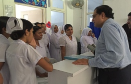 WHO Representative to Maldives Dr Arvind Mathur speaks to nurses. PHOTO/WHO MALDIVES