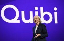 """(FILES) In this file photo Quibi CEO Meg Whitman speaks about the short-form video streaming service for mobile Quibi during a keynote address January 8, 2020 at the 2020 Consumer Electronics Show (CES) in Las Vegas, Nevada. - Quibi, the multi-billion-dollar streaming platform launching Monday, is betting it can transform entertainment with short, Hollywood-quality clips to watch """"on the go"""" -- even as much of the world is trapped at home. (Photo by Robyn Beck / AFP)"""