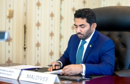 Minister of Health Abdulla Ameen photographed at the OIC meeting on Thrusday. PHOTO: MIHAARU