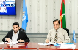 Minister of Health Abdulla Ameen and WHO Representative to Maldives Dr Arvind Mathur during the video conference. PHOTO: MINISTRY OF HEALTH