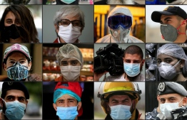 (COMBO) This combination of pictures created on April 8, 2020 shows a series of portraits of men and women in the Middle East region wearing protective face-masks during the coronavirus (COVID-19) pandemic. -  (Photos by AFP)