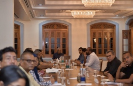 President Ibrahim Mohamed Solih leading a meeting concerning the pandemic. PHOTO: PRESIDENT'S OFFICE