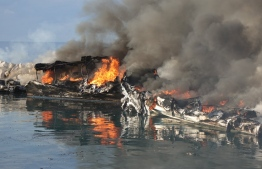 Vessels destroyed by the IS claimed at the harbour of Mahibadhoo, Alif Dhaalu Atoll, PHOTO: POLICE