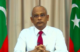 A screengrab of the live address by President Ibrahim Mohamed Solih, following the first community spread case of COVID-19 in the Maldives and in capital city Male'. PHOTO: PRESIDENT'S OFFICE