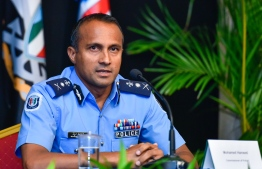 Commissioner of Police (CP) Mohamed Hameed speaking at a press conference held by National Emergency Operations Centre (NEOC). PHOTO: MIHAARU