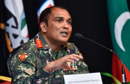 Chief of Defence Force Major General Abdulla Shamal speaking at a press conference hosted by the National Emergency Operations Centre (NEOC). He stated that the actions of expatriate workers in Maldives are equivalent to that of foreigners taking over the nation. PHOTO: AHMED AWSHAN ILYAS/ MIHAARU